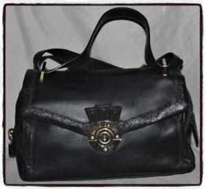 HENRI BENDEL Black Dr Style Satchel Handbag Shoulder Bag L@@K SHARP