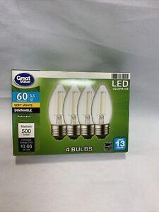 4pk Medium Base 60Watt Eq LED Light Bulbs Dim 5.5Watt 500 Lumen 2700K Soft White