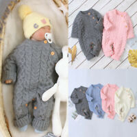UK Newborn Baby Boy Girl Knit Romper Hooded Sweater Jumpsuit Winter Warm Clothes