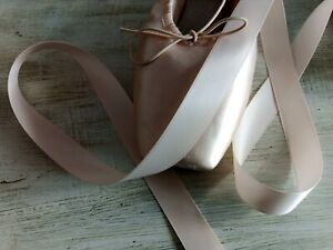 Ballet Pointe Shoe Ribbon 3 metres Pink/Nude Double Sided Satin UK Supplier