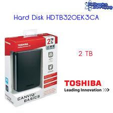 HARD DISK ESTERNO 2,5 USB 3.0 2000GB 2TB TOSHIBA AUTOALIMENTATO CANVIO BASICS