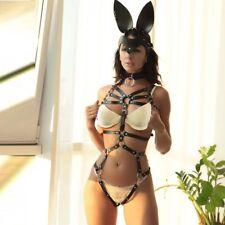 Women BDSM Bondage Suspender PU Leather Harness Garter Belt Stocking With Choker