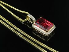 "10K Yellow Gold Royal Red Ruby Real Diamond Charm Pendant 1.05"" .35Ct Franco Chn"
