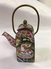 VINTAGE CHINESE GOLD FISH & SAKURA ORIENTAL ENAMEL BRASS TEA POT KETTLE