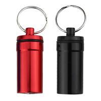 2pcs Portable Stash Jar Alloy Medicine Case Organizer Pill Bottle Keychain