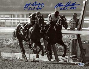 JORGE VELASQUEZ & STEVE CAUTHEN SIGNED 11x14 PHOTO ALYDAR AFFIRMED BECKETT BAS