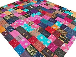 Quilt Patchwork Kantha Bedspread King Bed cover Handmade Blanket Tribal India E2