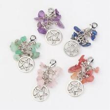 Natural Different Gemstone Chips Detachable Pentagram Pendants/Charms/Necklace