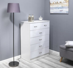Gloss White Chest of Drawers Large 6 (4+2) Drawers 100cm Tall. Wood style frame.