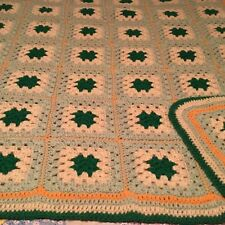 "HAND CROCHETED COUNTRY SQUARES AFGHAN VERY PRETTY!   56"" X 48"""