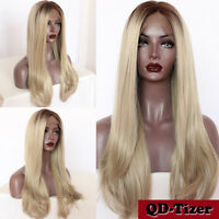 Brown Ombre Blonde Lace Front Wig Long Natural Straight Full Synthetic Hair Wigs