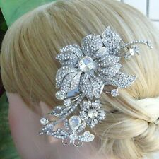 Unique Bridal Headpiece Clear Rhinestone Crystal Flower Hair Comb Tiara 03771C1
