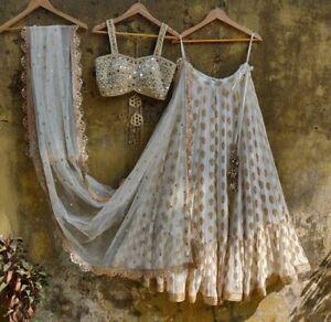 White Beauty Mirror Work Indian Party Wear Lehenga Lengha Choli Pakistani Skirt