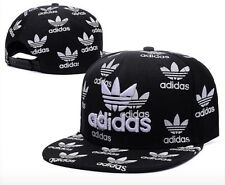 f77605a2a0a Embroidered Adidas Trefoil Snapback Flat Cap Black White  One Size Fits Most