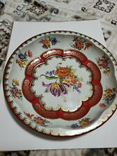 """Daher Decorated Ware Tin Bowl Floral White Brick Red Gold 10"""" 1971 England"""