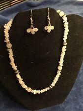 Lovely S/S Rose Quartz & Tumbled Rainbow Moonstone Bead Necklace & Earrings