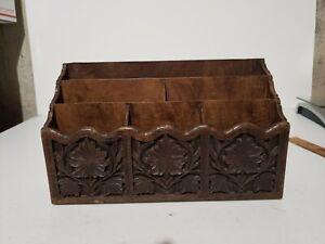 Vintage Tabletop Desk Letter Mail Organizer Lerner Melville NY Faux Wood