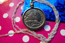 "1955 France 100 Franc Coin Pendant 28"" 925 Sterling Silver Wavy Twist Chain"