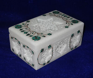 Leather Jewelry Box Malachite Floral Jewelry Trinket Box Handmade Shopping Gifts
