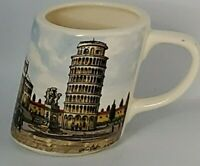 """Leaning Tower of Pisa Ceramic Leaning Mug 4"""" Stamped PF Made in Italy"""