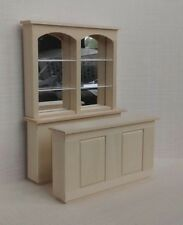 """Dollhouse Miniature 3 pc Bar Mirrored Back 6"""" long unfinished basswood 1:12"""