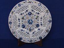 Marble Plate white stone Handmade Lapis inlay Pietra dura Grill work home decors
