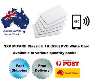 13.56MHz MIFARE Classic® 1K (MF1S50 chip) PVC White ISO Card NFC various package