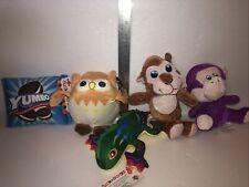 Lot of 5 New Generic Plush Stuffed Toys Cookies Owl Lizard Dog Monkey