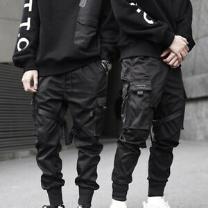 Mens Black Cargo Trousers Casual Hip Hop Harem Pencil Pants Long Sweatpants