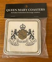 Package of 8 Vintage Queen Mary Absorbant Beverage Coasters
