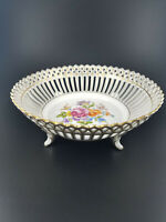 Vintage SP Dresden Germany Porcelain Floral Four Footed Reticulated Bowl
