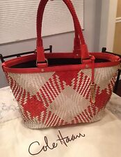 Cole Haan Genevieve Woven Leather Weave Tote Shoulder Hobo Hand Bag Purse EUC!