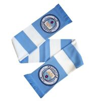 Official Manchester City Football  BAR Scarf New Logo Ideal Gift WHITE/ SKYBLUE