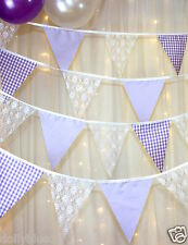 Fabric bunting Lilac polka dot Gingham lace baby shower wedding,  price per 1m R
