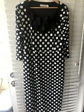 Women's Lined Maxi Polka Dots Dress Black/White Ruffle Collar 3/4 Sleeve 2XL