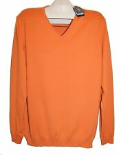 Hugo Boss Orange Men's V-Neck Cotton Knitted Sweater Shirt Sz 2XL  Slim Fit
