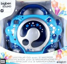 BigBen Kinder Karaoke Radio, CD-Player CD47 m. 2 Mikrofonen, Blau