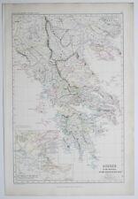 1873 Map Greece Macedonia Thessalia Peloponnesian War Hand Coloured Smith