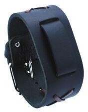 Nemesis NXB-K Black X Pattern Wide Leather Pattern Cuff Watch Wrist Band