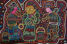 """Mola Applique Folk Art Unique Quilted Panel Kuna Harvesting fruit 18X13"""" Huge 33"""