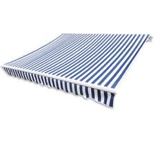 Vidaxl banne en toile Bleu et Blanc 4x3 M (cadre Non Inclus) Auvents
