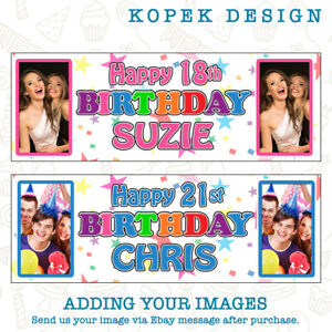 2 x Personalised Birthday Party Banners with Photo - ANY NAME/AGE KIDS ADULTS