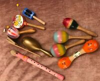 Percussion Instruments Bundle of 11 items, maracas, shakers, flute