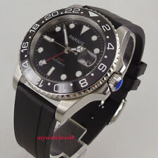40mm Parnis black dial Sapphire glass rubber strap red GMT automatic mens watch