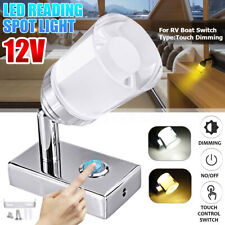 1x 12V Dimmable 3 LED Touch Dimming Reading Spot Light Wall Lamp RV Boat