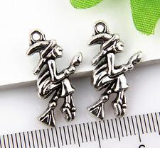 10Pcs Tibetan Silver Witch Pendants Charms 25x13mm 1A1803
