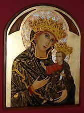 MADONNA DEL VOTO icona sacra dipinta a mano su vecchio legno massello