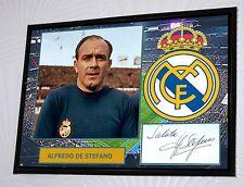 Alfredo de Stefano Real Madrid Enmarcado A3 Lona Impresión Firmada Ltd Edition