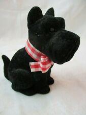 Vintage Japan black Scottie Dog Figurine felted flocked covered