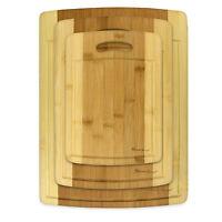 NEW 3 Piece Set Organic Bamboo Cutting Chopping Board Heim Premium Wood Groove